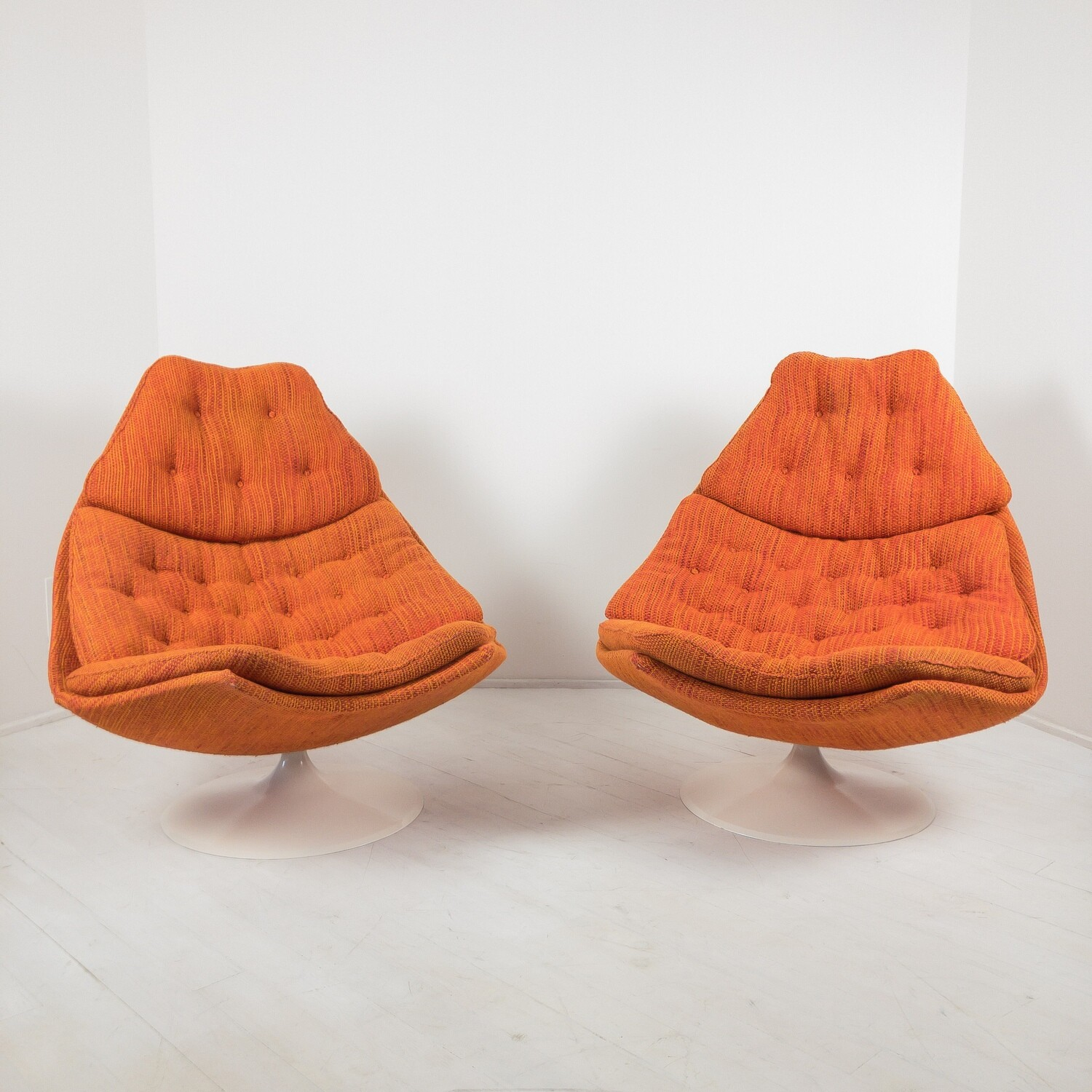 Pair of Model F590 Armchairs in Terra fabric by Geoffrey Harcourt for Artifort, 1970s
