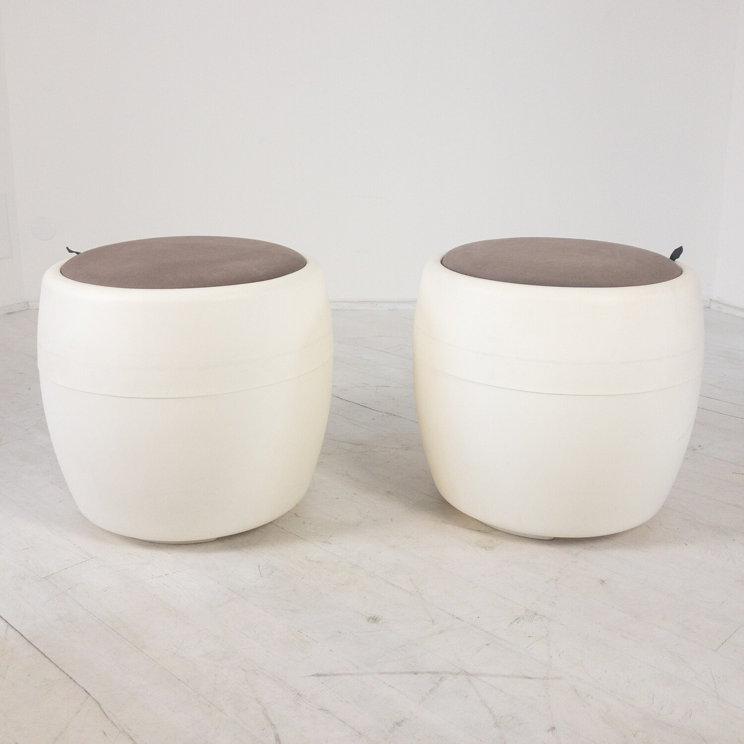 Pair of Calligaris Candy Container Poufs
