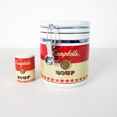 Campbell's Soup ceramic jar and pepper holder