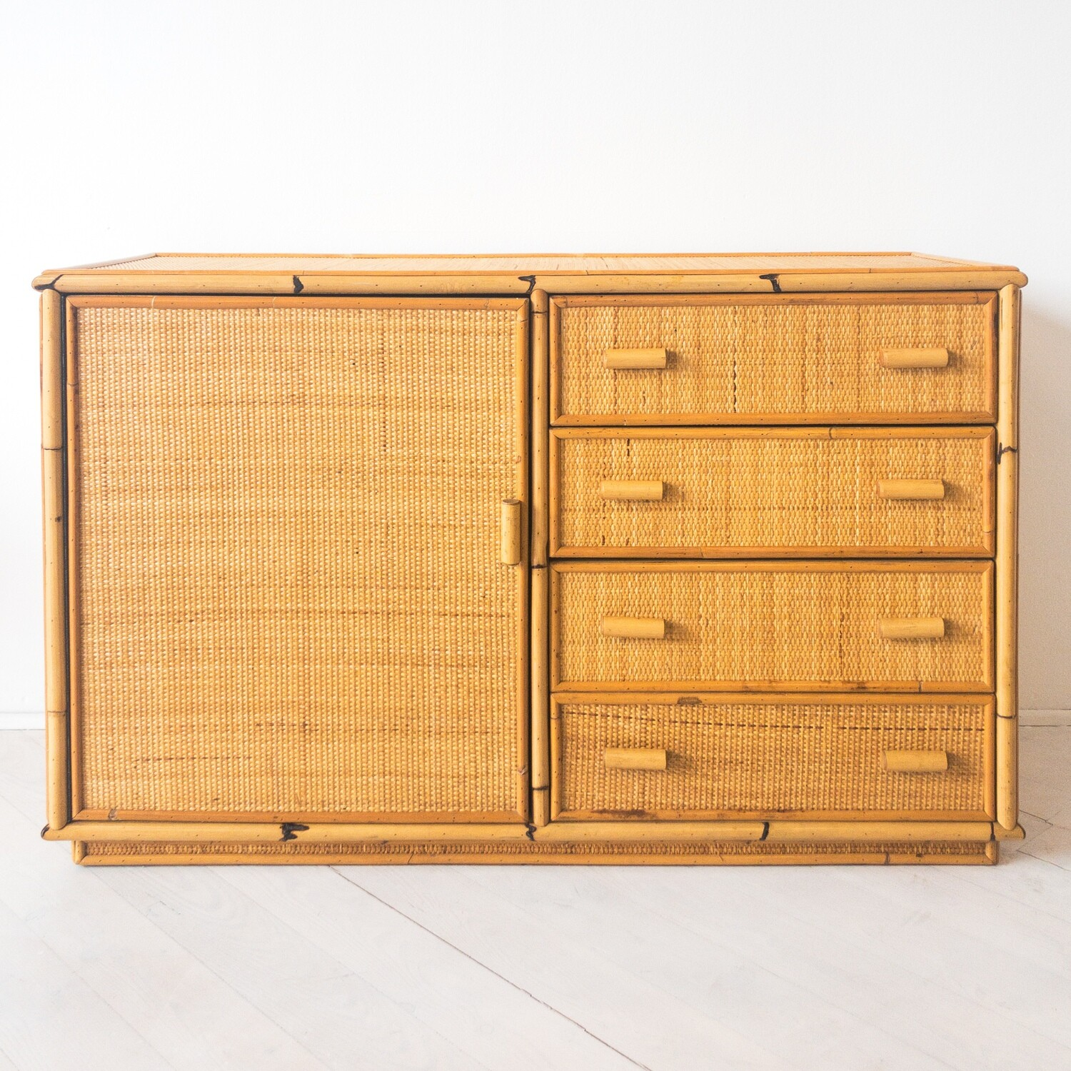 Sideboard in bamboo and rush, 1970s