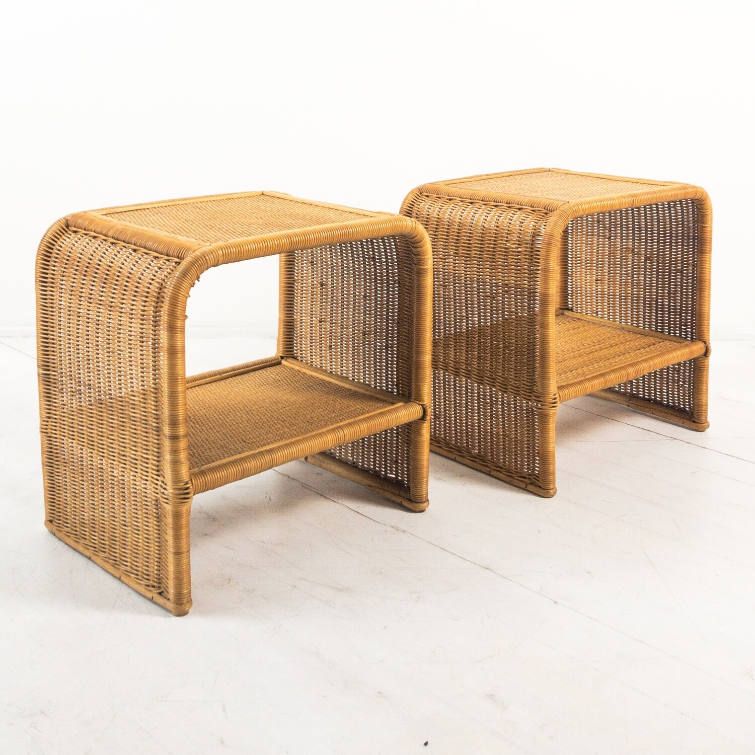 Pair of bamboo and wicker bedside tables from the 1970s