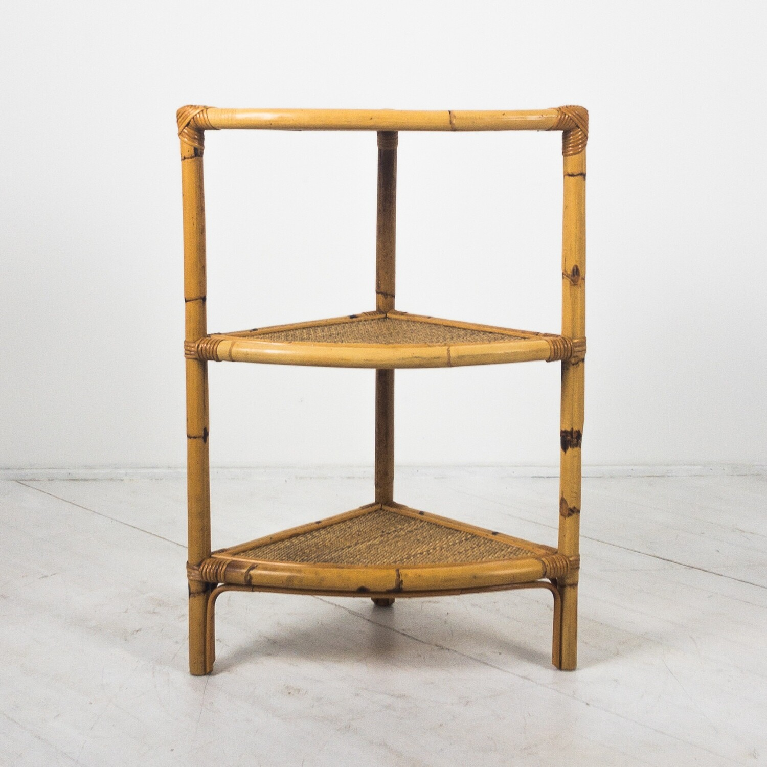 Corner coffee table in bamboo and wicker, Italy 1970s