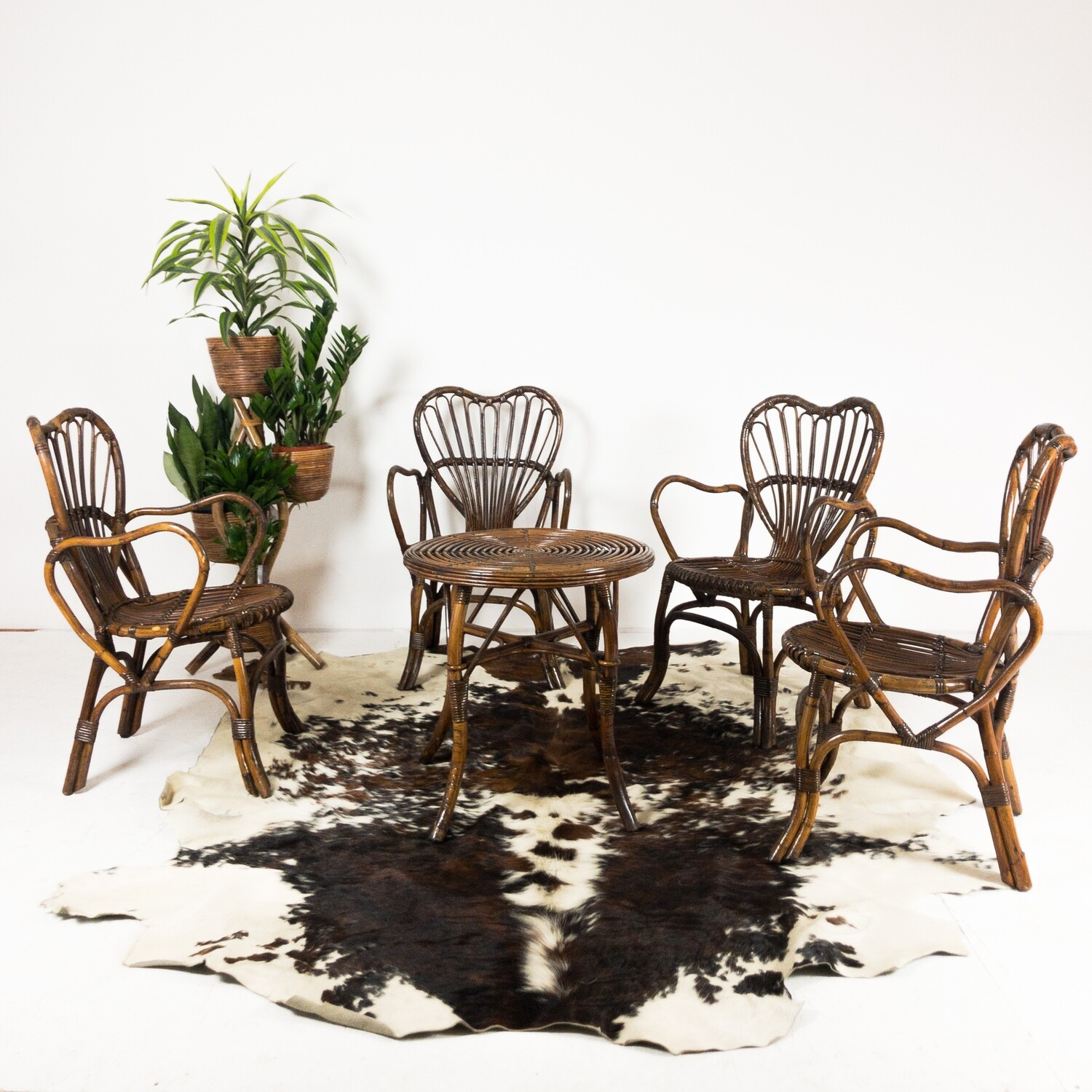 Set of 4 bamboo chairs and coffee table, Italy 1970s