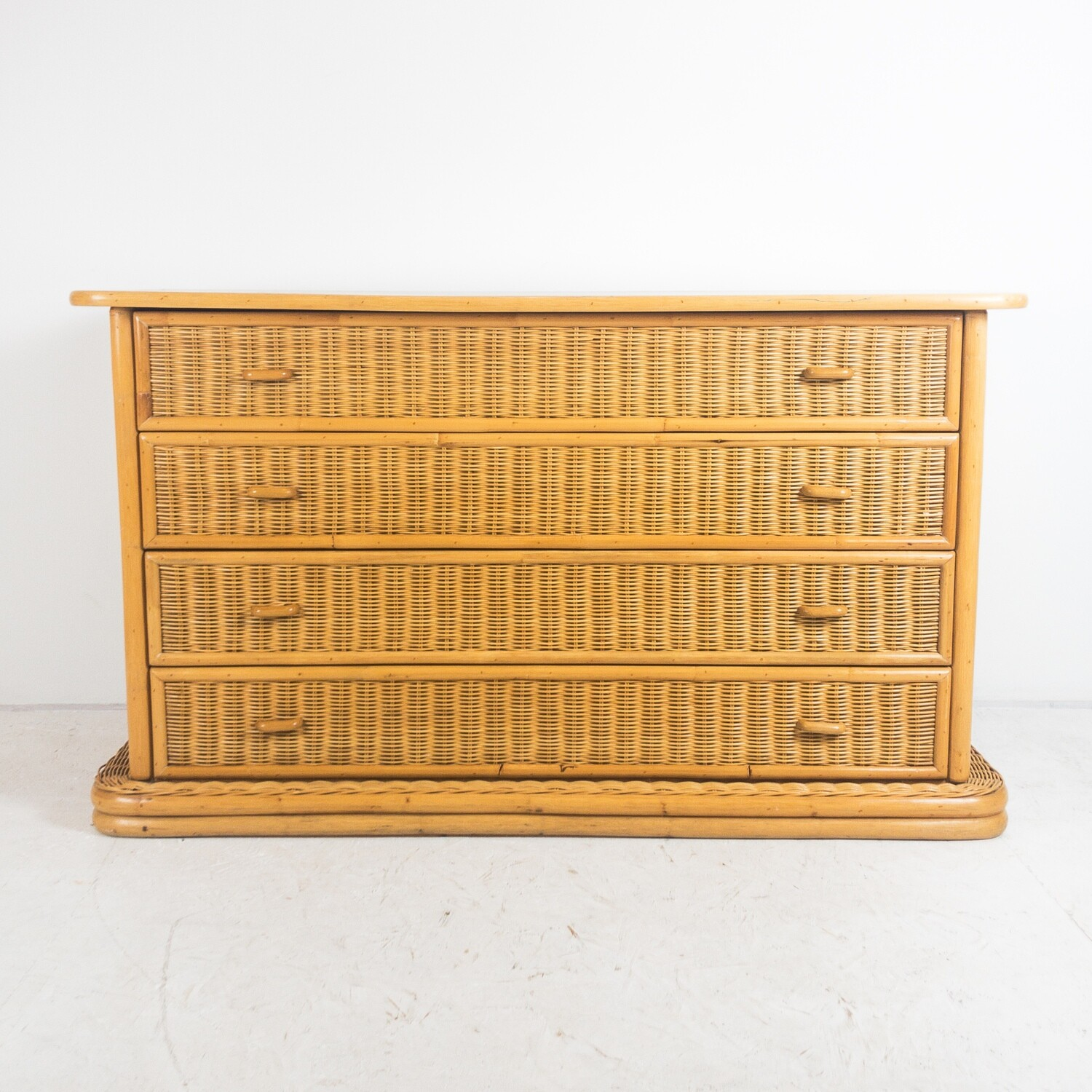 Chest of drawers in bamboo and wicker, Italy 1970s