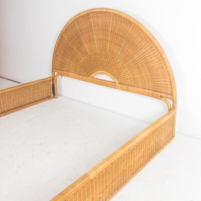 Double bed in bamboo and wicker, Italy 1970s
