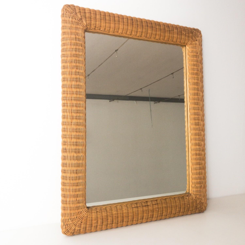 Wicker mirror, Italy 1970s
