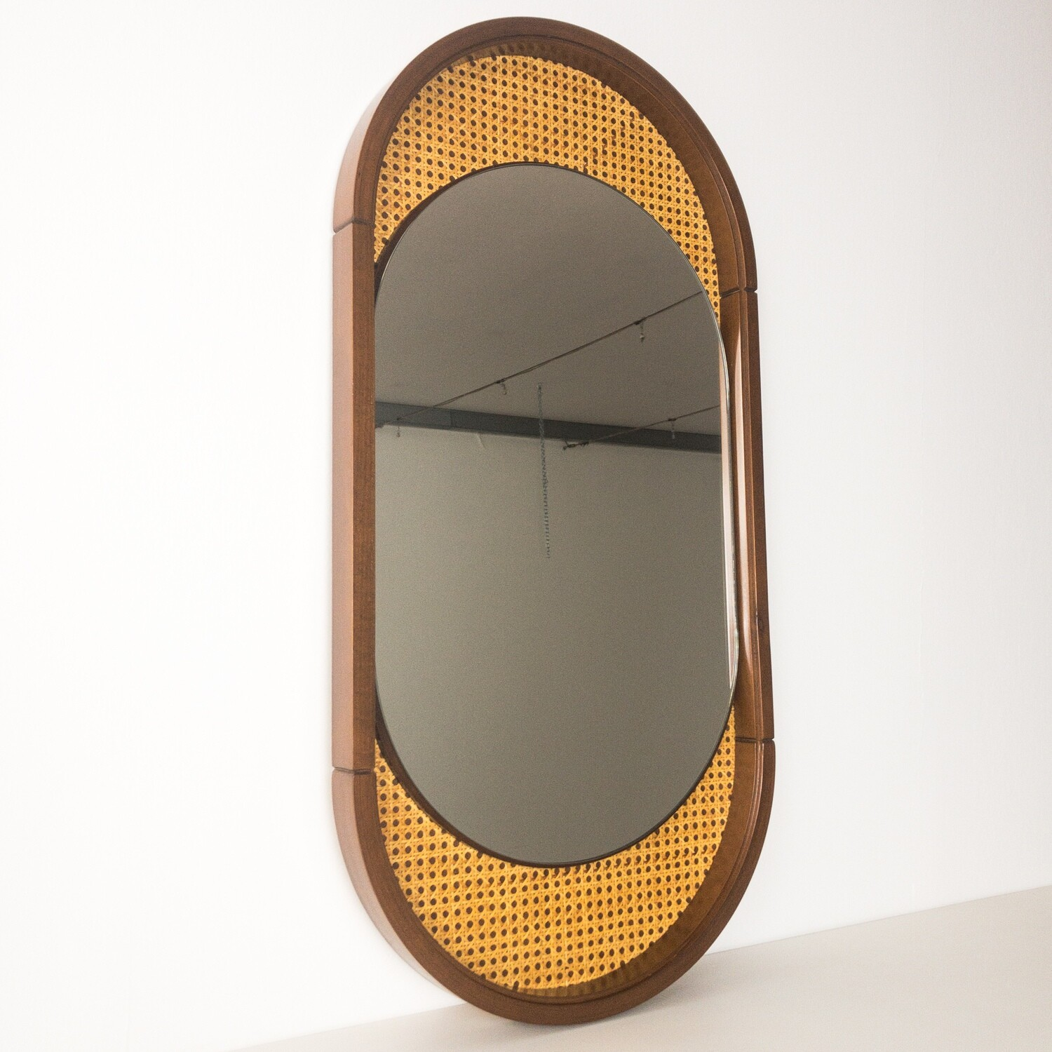 Mirror in Wood and Vienna Straw