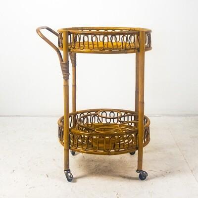Italian bamboo bar trolley, 1960s
