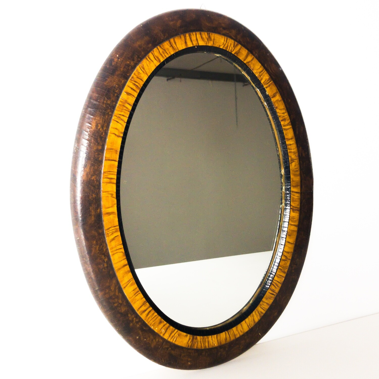 Art Deco style oval mirror with briar frame