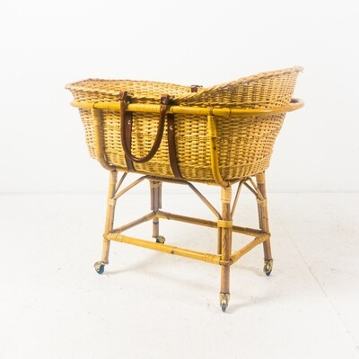 Wicker cradle with leather handles, 1960s