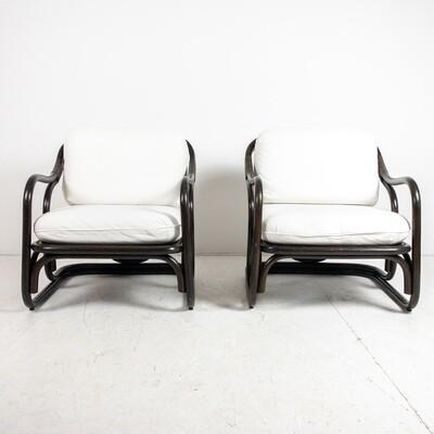 Set of two ebonized bamboo armchairs by Francesco Trabucco for Bonacina, 1972