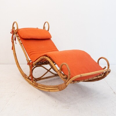 Rocking chair in bamboo, by Giovanni Travasa for Bonacina, Italy 1972