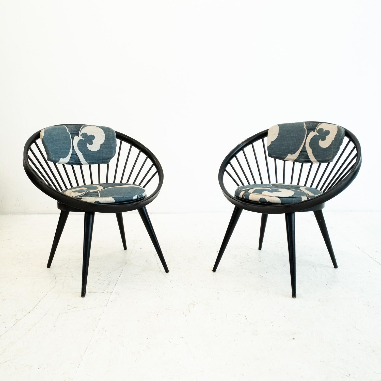 Pair of Circle chairs by Yngve Ekstrom, 1960s