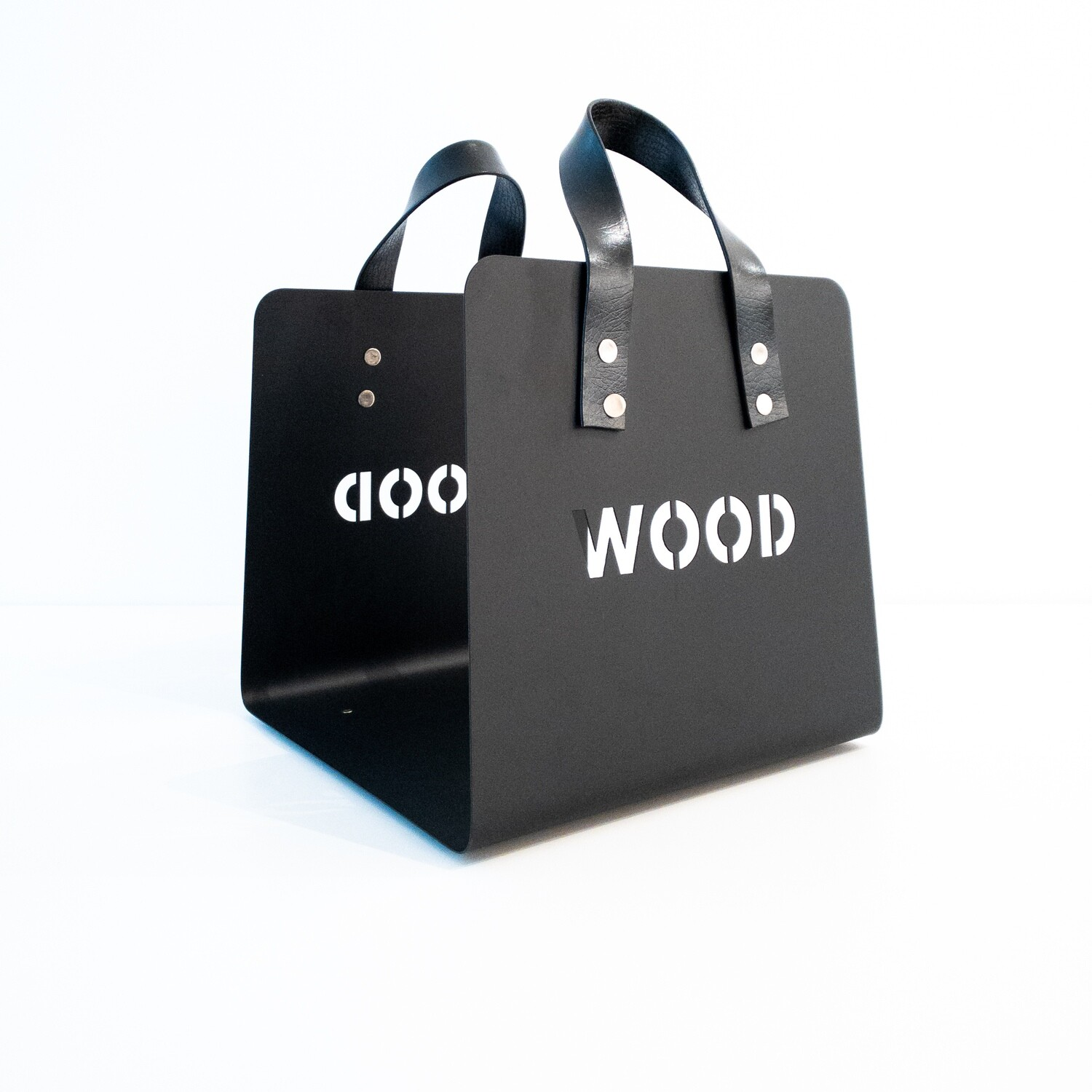 Firewood holder in black steel