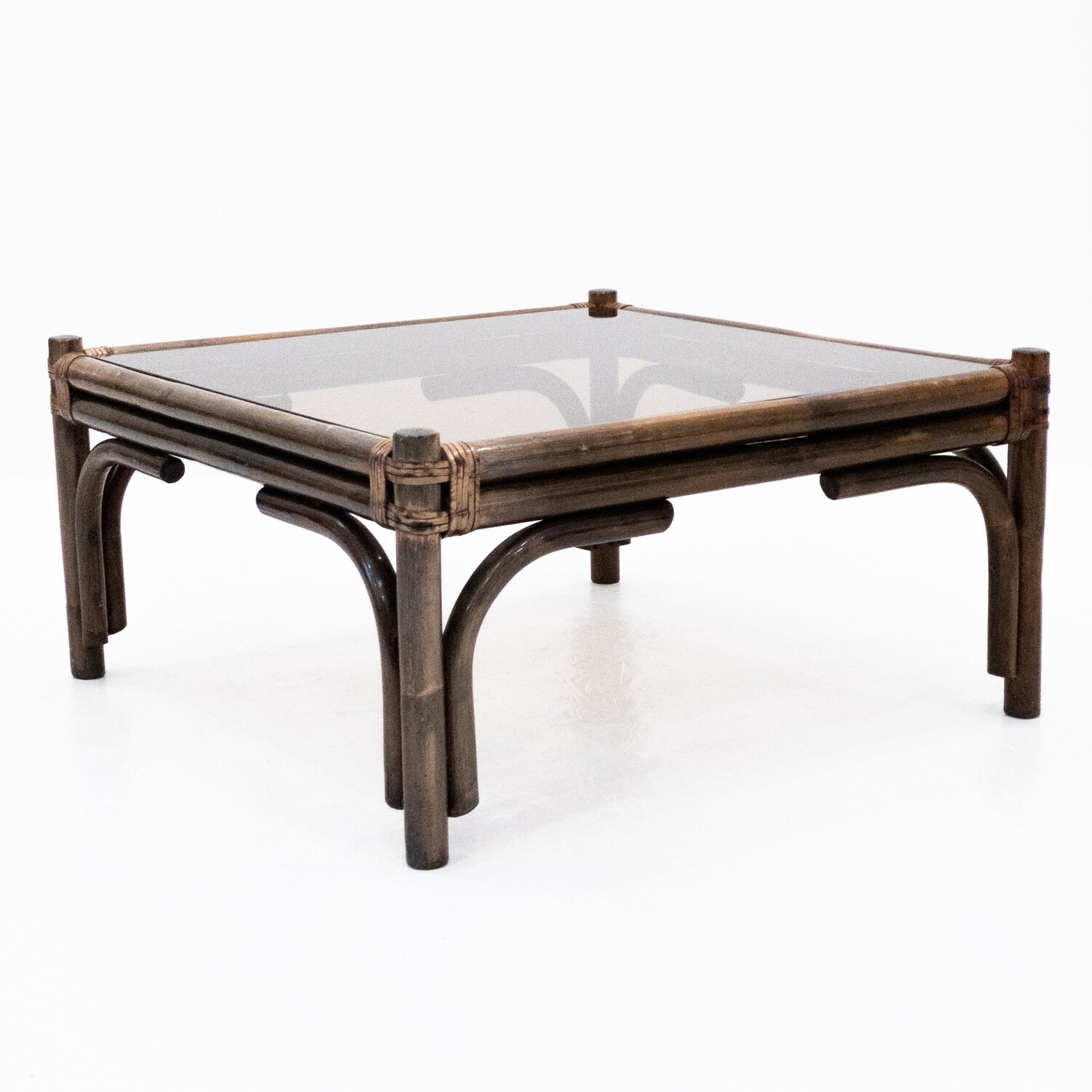 Coffee table, 1970s in bamboo and glass