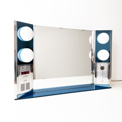 Mirror with built-in clock radio