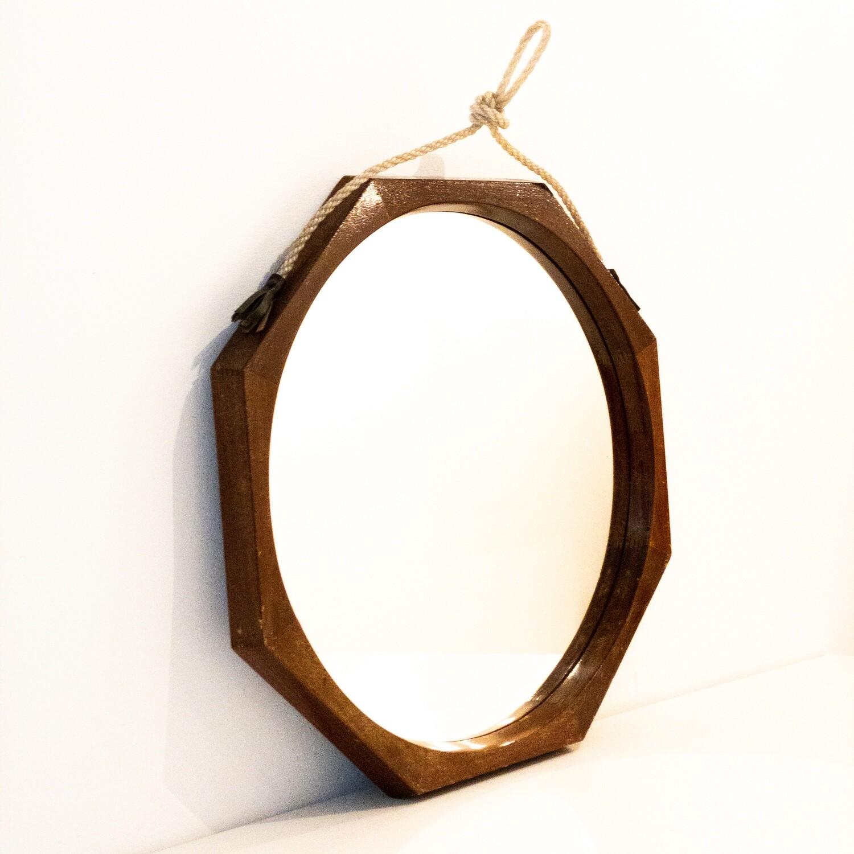 Octagonal mirror in teak, Sweden from the 1960s