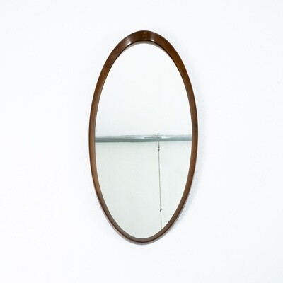 Oval wooden mirror, 1970s