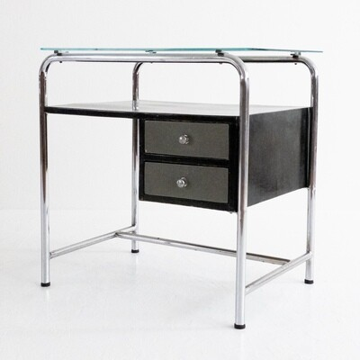 Vintage desk in steel, glass and wood, Italy 1970s