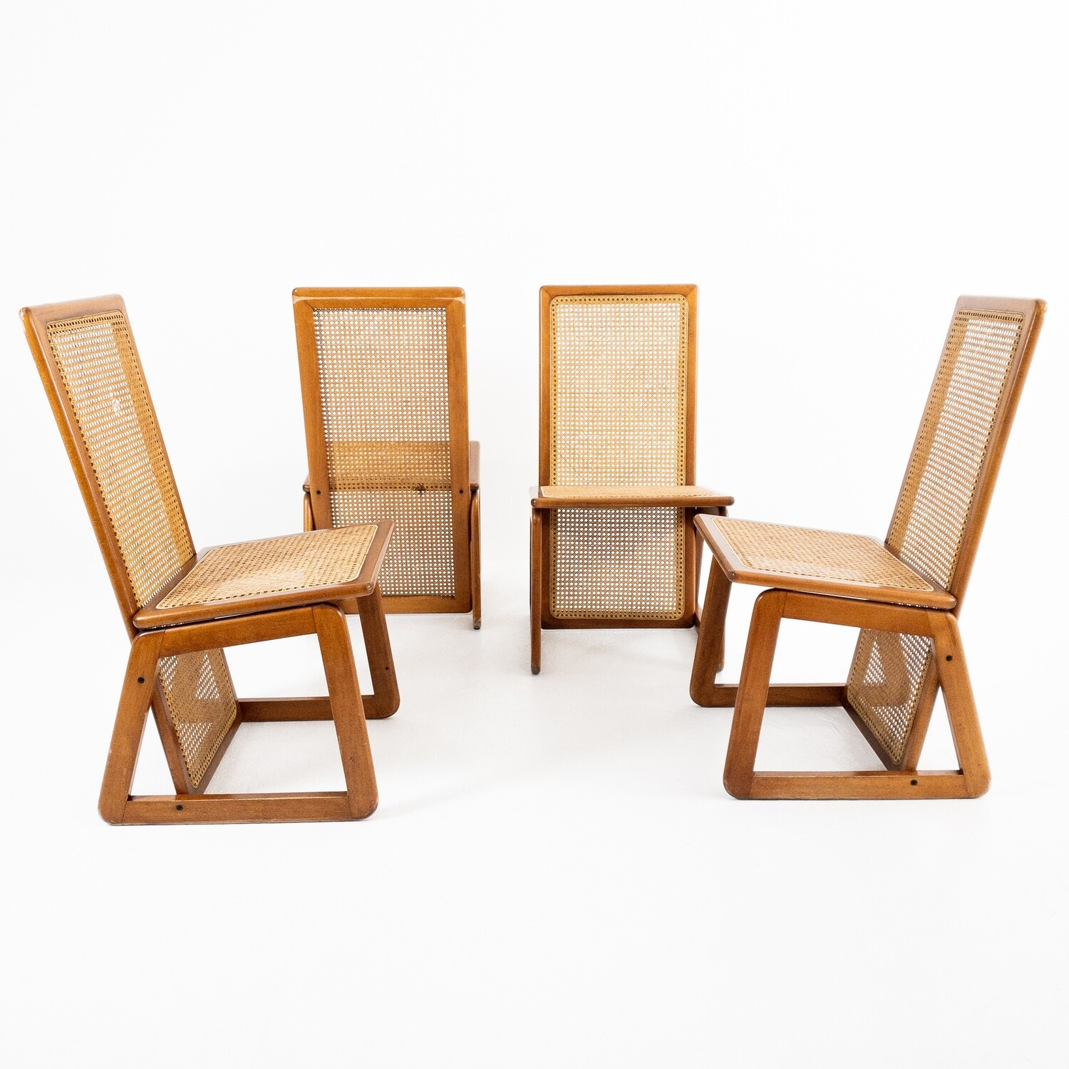 Set of 4 chairs in wood and straw from Vienna, Denmark 70s