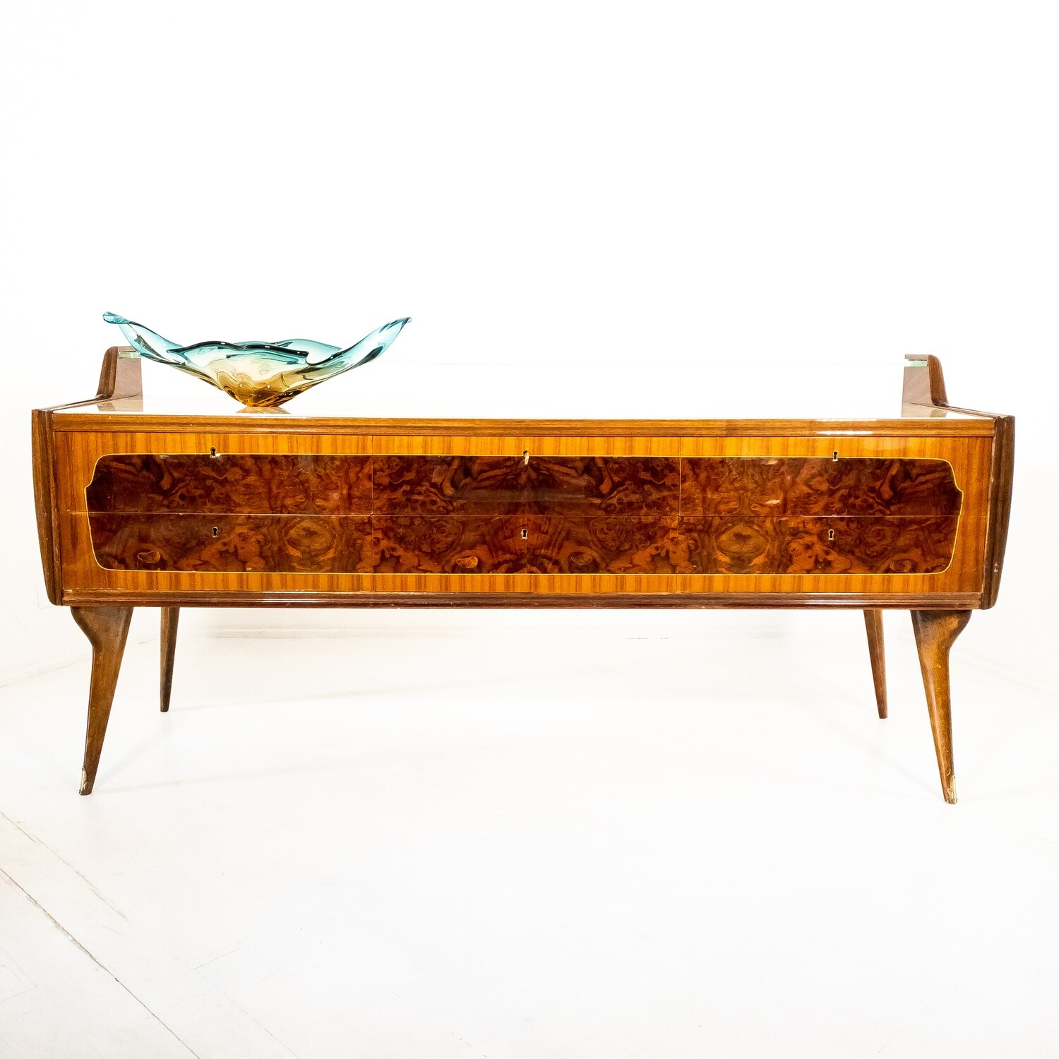 1950s chest of drawers in briar with glass top
