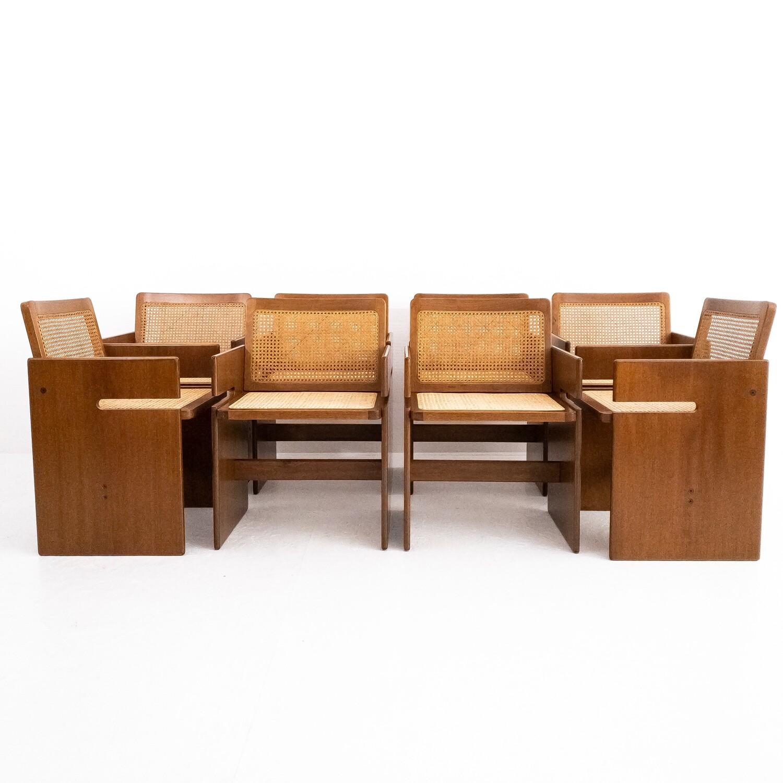 Set di 8 sedie in paglia di Vienna e legno
