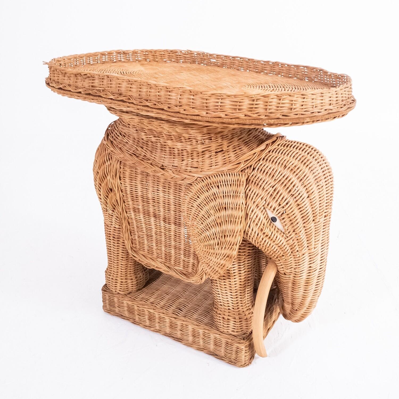 Elephant rattan coffee table, 1950s