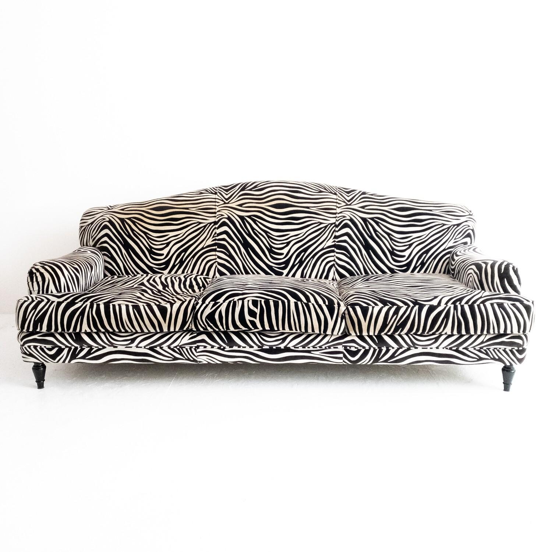 Roma sofa by Domusnova in zebra velvet complete with cushions