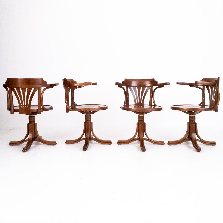 Set of 4 Thonet style swivel chairs