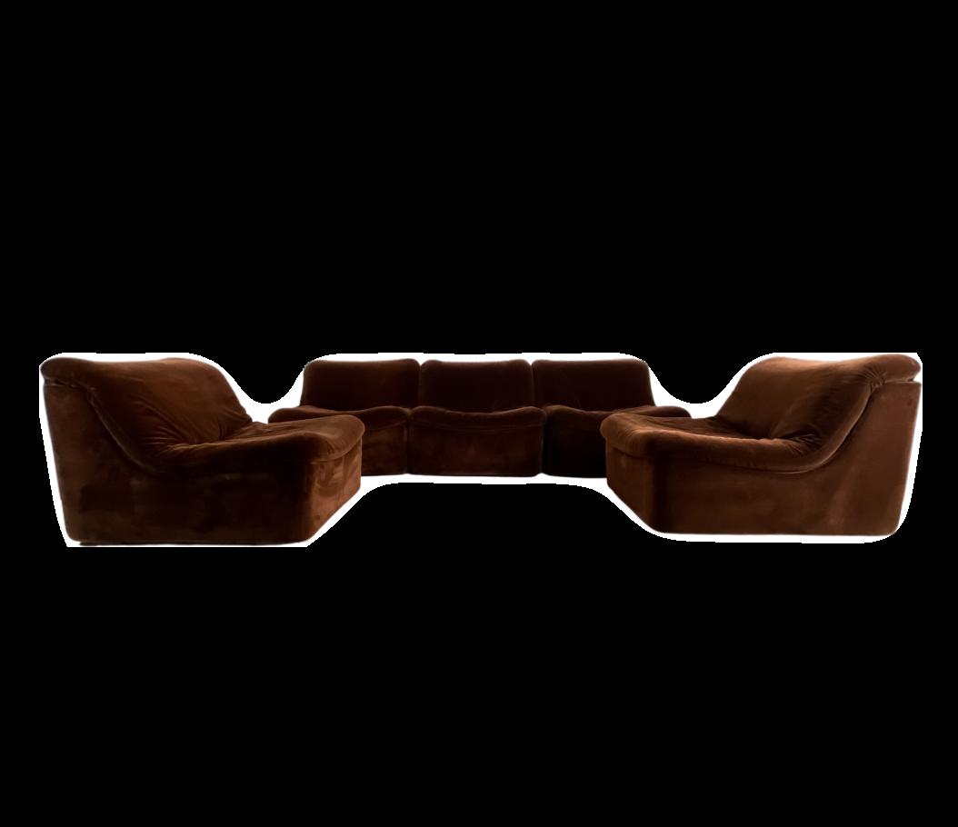 Modular velvet sofa 1970s, set of 5