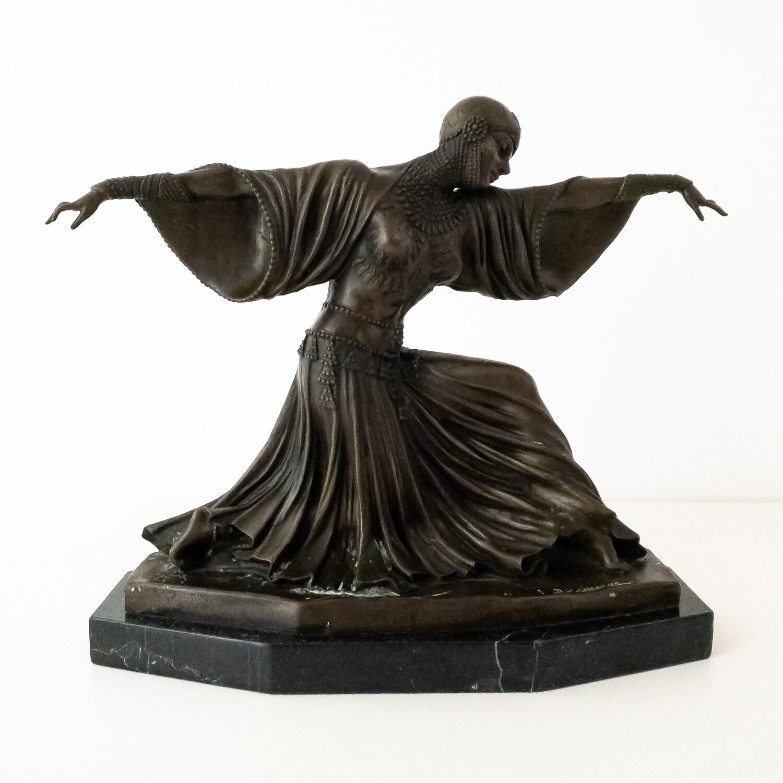Scultura in bronzo Art Decò ballerina Chiparus