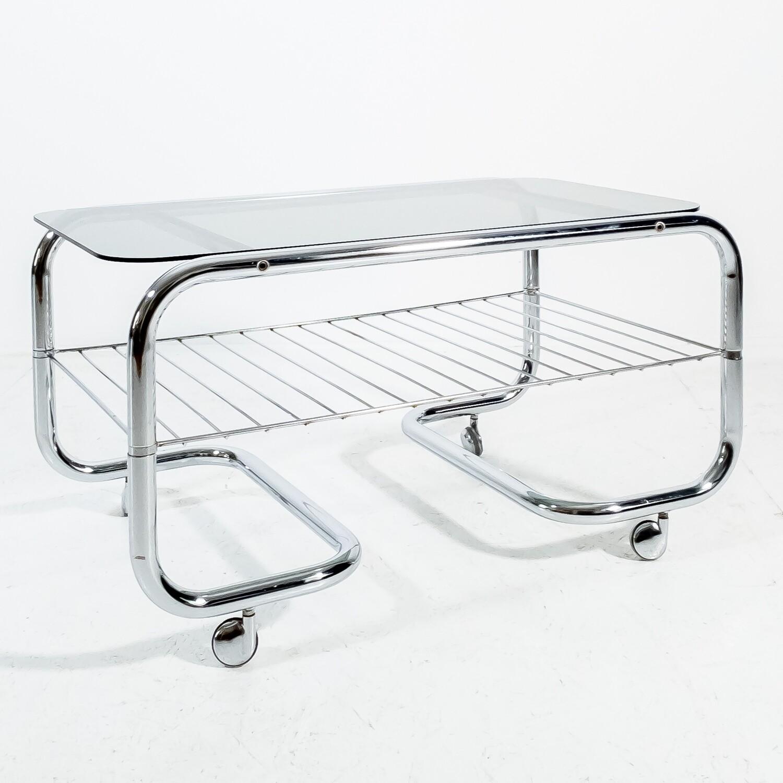 Vintage Bar Cart by Huwa-Spiegel Parsol in steel and glass, 1970