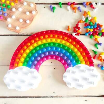 Little Pegz Rainbow Peg Board - Rainbow