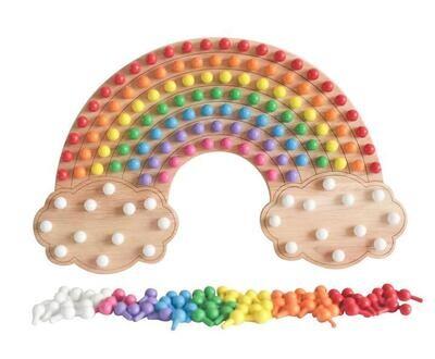 Little Pegz Rainbow Peg Board - Natural