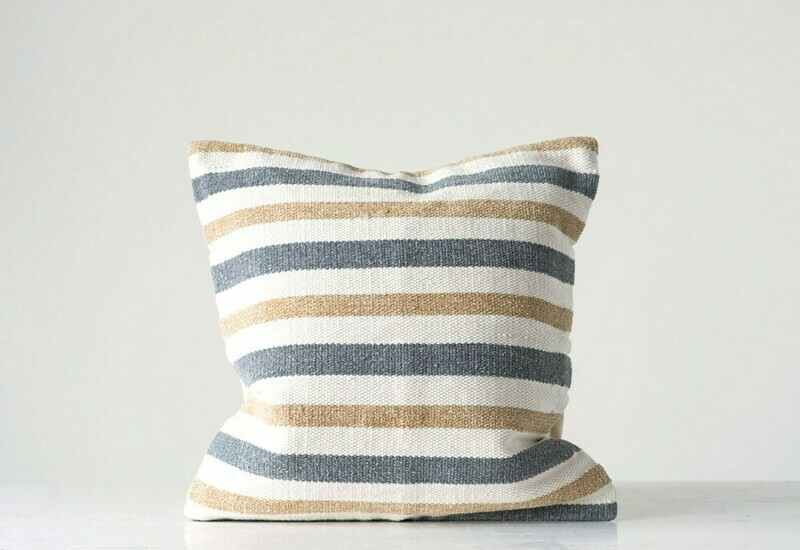 Amber Cotton Striped Pillow, Grey & Sand, 20x20