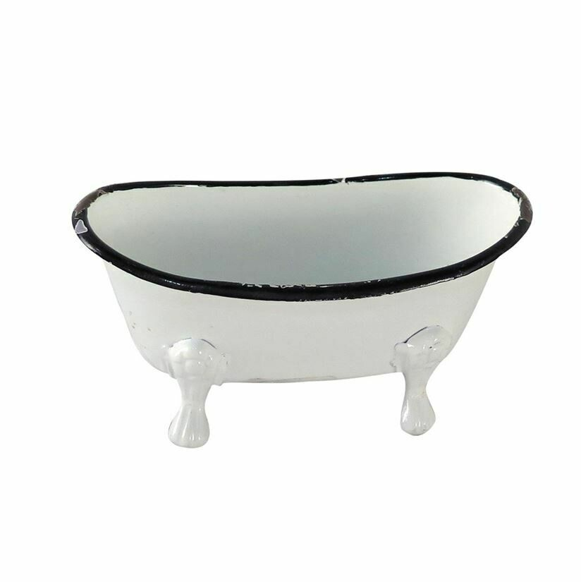 Bathtub Soap Dish, Black & White Distressed
