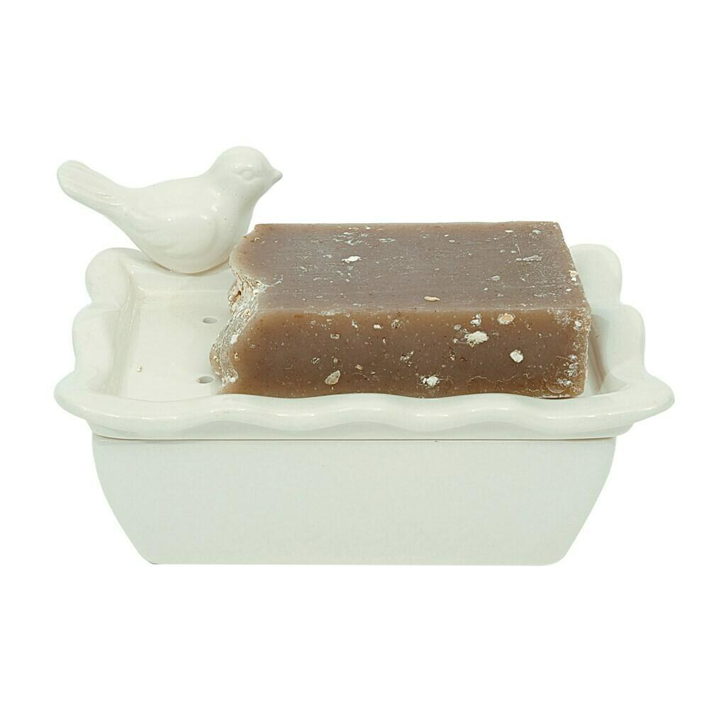Ceramic Soap Dish, 2 Piece W/ Bird