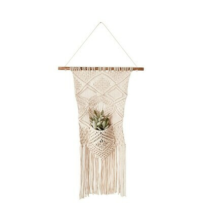 Cotton Macrame Wall Hanging W/ Pocket