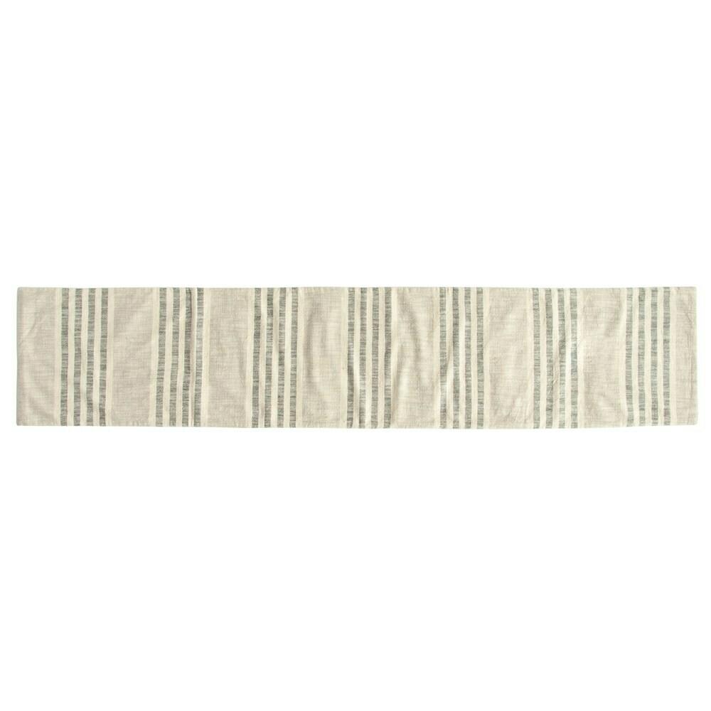 Cotton Striped Runner, Natural