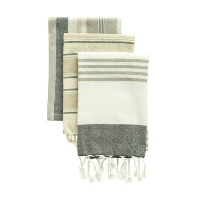Cotton Striped Tea Towel Set Of 3