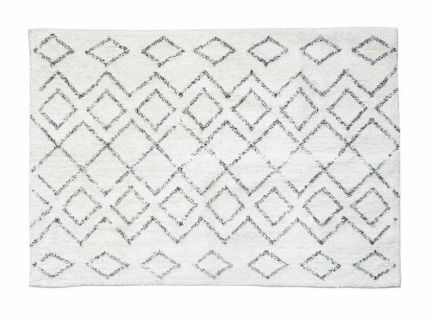 Diamond Cotton Shag Rug Cream & Black 4x6