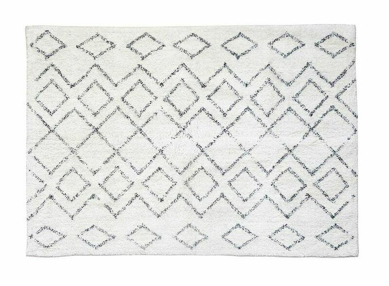 Diamond Cotton Shag Rug Cream & Black 4x6
