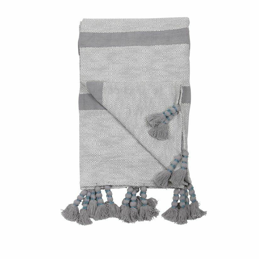Dixie Striped Handwoven Throw Grey
