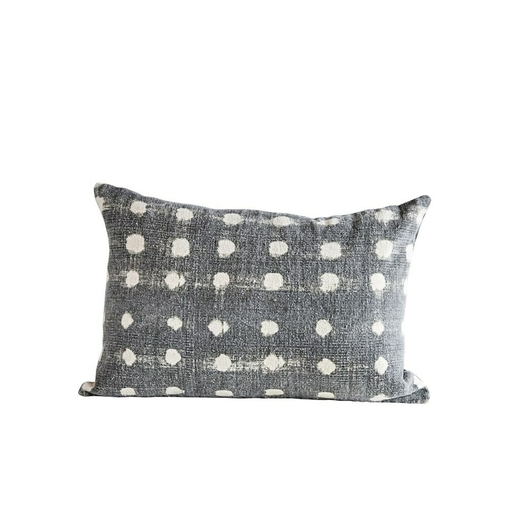 Dotty Polka Dot Pillow, Charcoal, 24x16