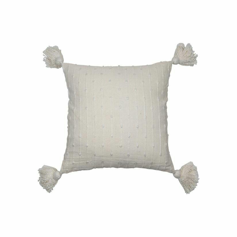 Kira Handwoven Pillow, White 18x18