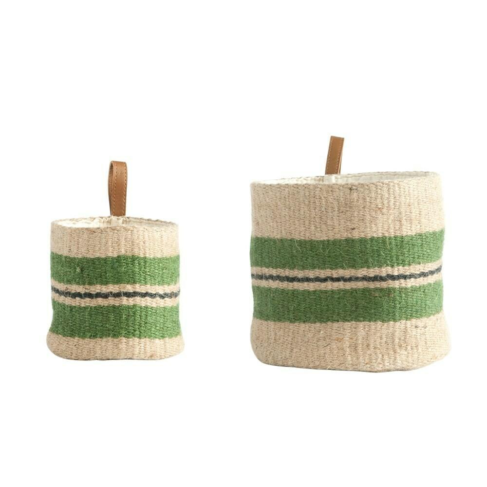 Leather Loop Jute Baskets Set Of 2, Green