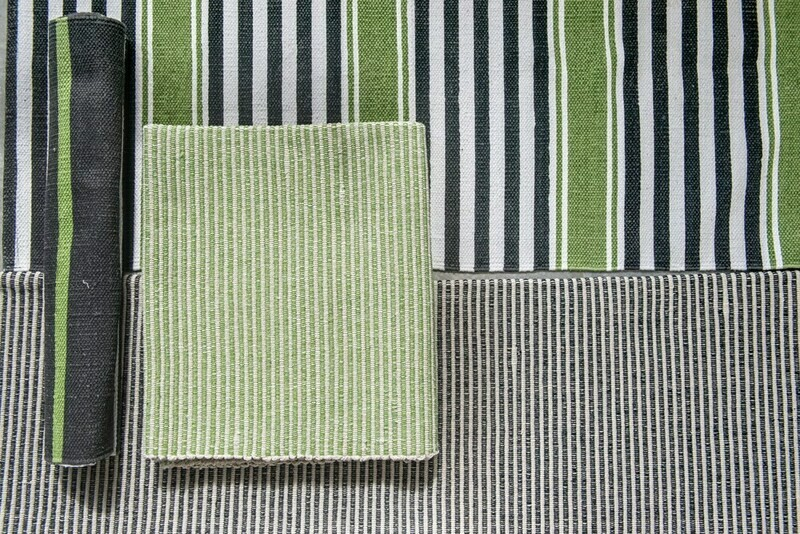 Holly Cotton Striped Dhurrie Rug, Green