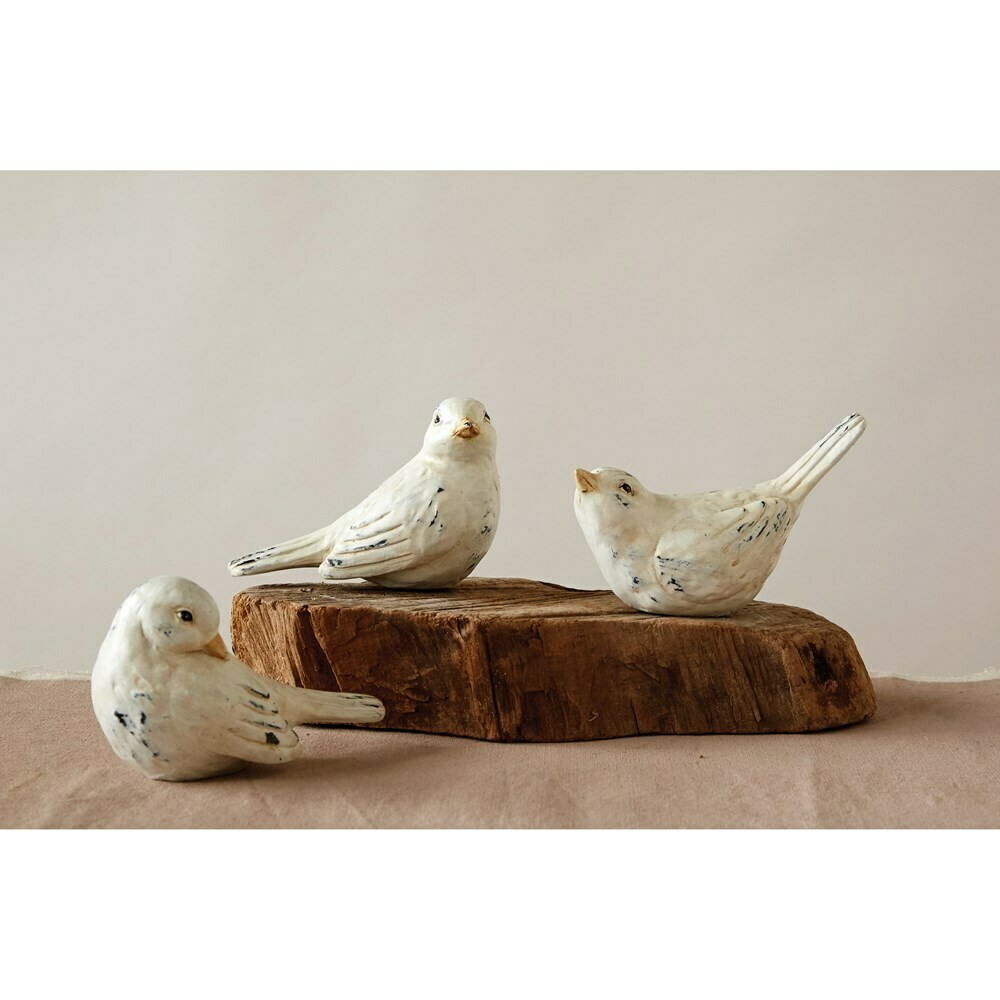 Ivory Distressed Resin Bird