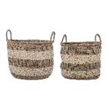 Large Striped Seagrass Basket