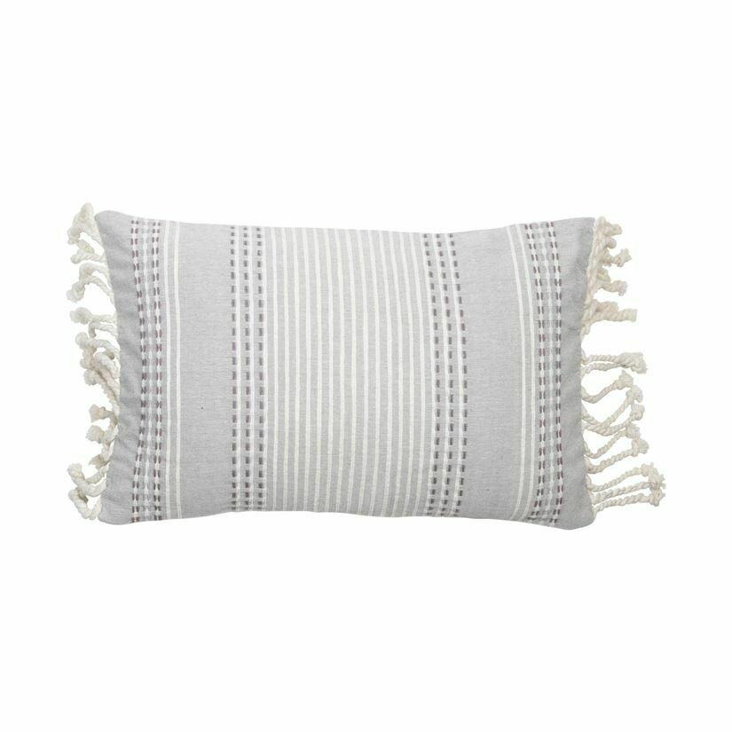 Nila Handwoven Pillow Grey 14x22